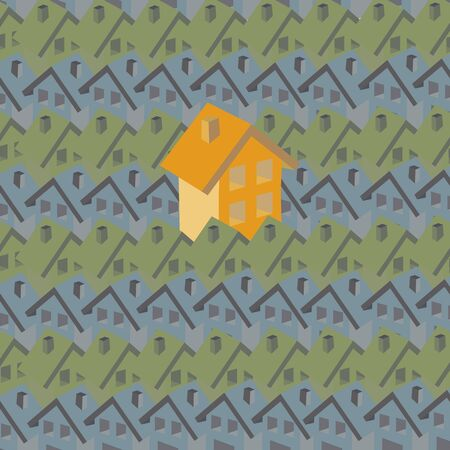housing problems: Seamless pattern. The picture bright two-story house similar among small nondescript houses. Idea: keep a low profile.