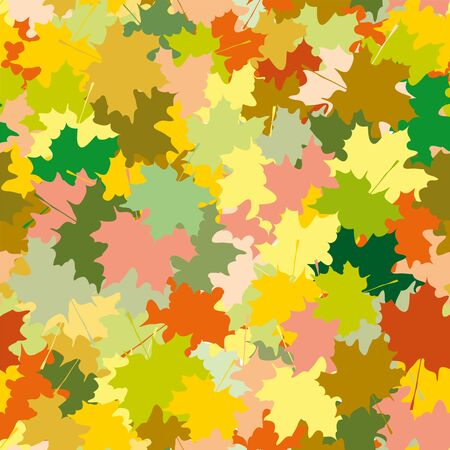 maple leaves: Seamless ornament, composed of a mass of maple leaves of different colors. Autumn pattern. Illustration