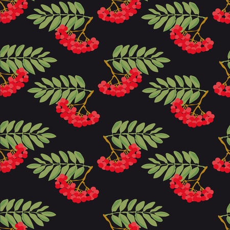 ashberry: Seamless autumn pattern. A pattern made from the ripe berries of mountain ash and green leaves, on a black background.