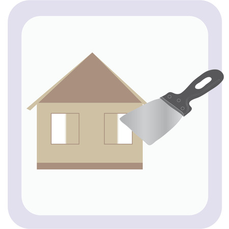 scraper: The image of a house under construction and spatula (scraper) on the background of the house as a symbol of ongoing construction and renovations. Illustration