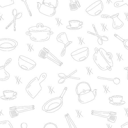 utensils: Kitchen utensils outline seamless pattern. Picture of kitchen utensils, a dark outline against a light background. Illustration