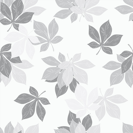 stroking: Seamless ornament. Pattern .made from the leaves of chestnut, made in graphic art.