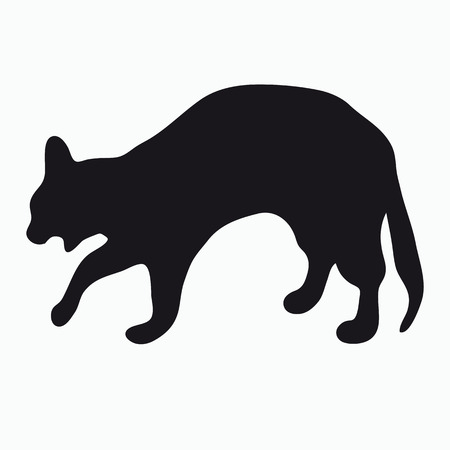 arched: Black silhouette of a large adult cat isolated on a light background. The cat arched his back and hisses, opening his mouth.