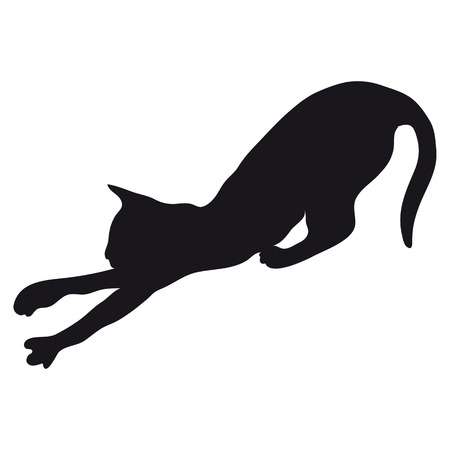 arched: Black silhouette of a large adult cat isolated on a light background. The cat arched his back and pulls forward paws.