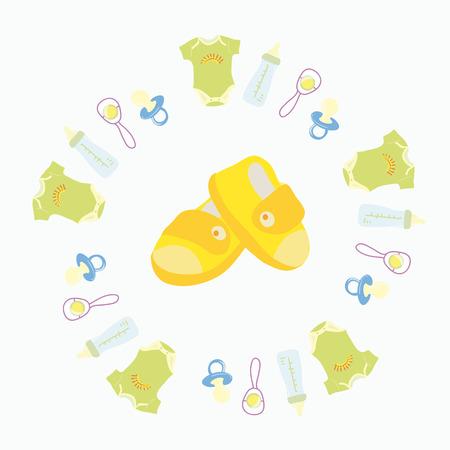 beanbag: baby icons on white background. Vector illustration Illustration