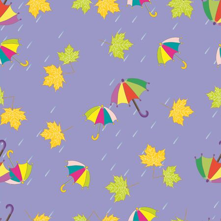slush: Vector illustration. Seamless ornament with autumn pictures. Image will fall: multicolored umbrella and maple leaves.