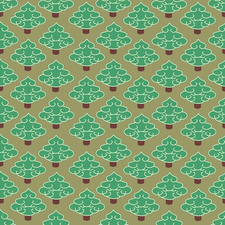 Vector illustration. Seamless ornament, composed of a mass of green fur-trees. Illustration
