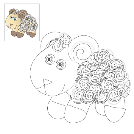 image lamb: Vector illustration. The image of a cute little lamb. Picture for coloring with a color sample. Illustration