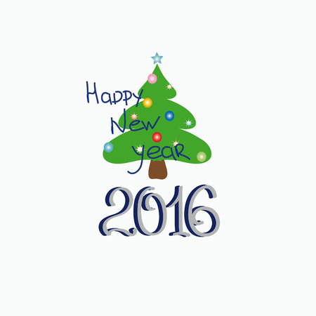 context: Vector illustration. The unusual design of the text happy New year with a little green tree .