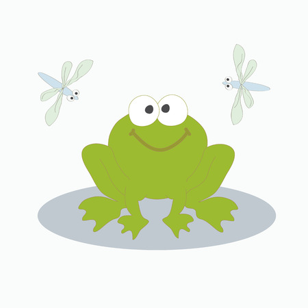 cattail: Vector illustration. The image of a small cheerful green frog with two flying side by dragonflies.