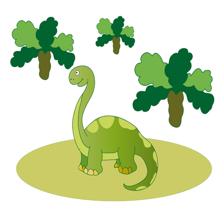 clearing: Vector illustration. The image of long-necked herbivorous green dinosaur in a clearing among the trees.