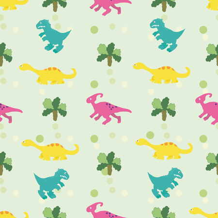wandering: Vector illustration. Seamless childrens ornament made up of different dinosaurs, wandering between the trees.