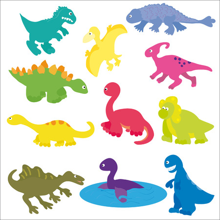 eras: Vector illustration. Collection of colorful cute dinosaurs, different types and eras.