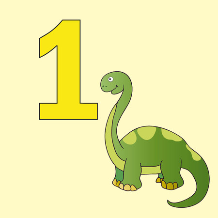 numeracy: Poster La numeracy. Number one. Beside the picture of one dinosaur.