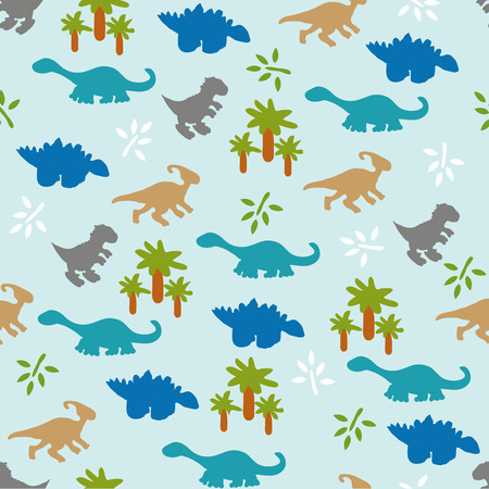 triassic: Vector illustration. Seamless ornament background made of silhouettes of dinosaurs of different species, the leaves and trees on a blue background.