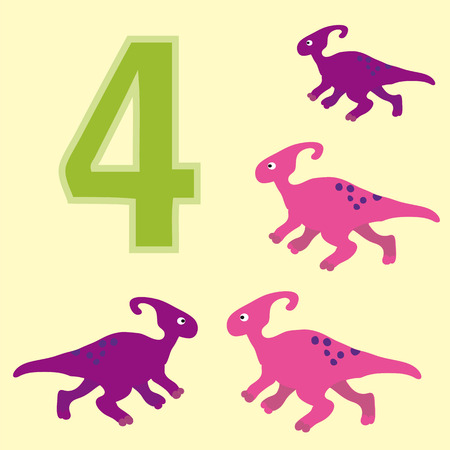 primary education: A poster for primary education account. Number four. About four paintings of a dinosaur.