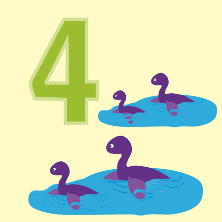4 of a kind: A poster for primary education account. Number four. About four paintings of a dinosaur.