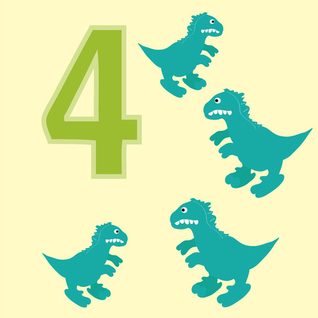 teaches: A poster for primary education account. Number four. About four paintings of a dinosaur.