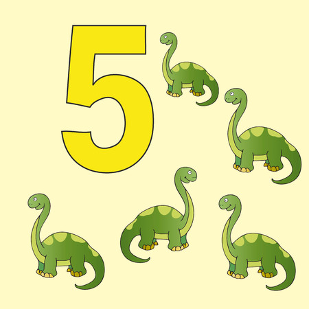 ancestor: A poster for primary numeracy. Number five.Next to the number five dinosaurs. Illustration