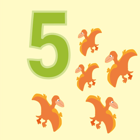 pteranodon: A poster for primary numeracy. Number five.Next to the number five dinosaurs. Illustration