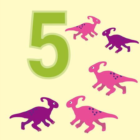 teaches: A poster for primary numeracy. Number five.Next to the number five dinosaurs. Illustration