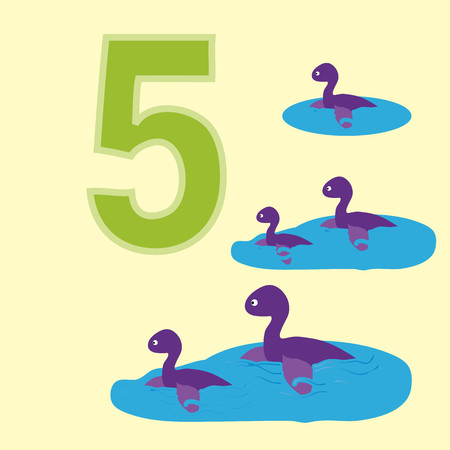 numeracy: A poster for primary numeracy. Number five.Next to the number five dinosaurs. Illustration