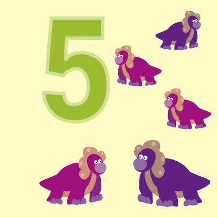 4 of a kind: A poster for primary numeracy. Number five.Next to the number five dinosaurs. Illustration