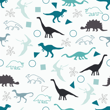 the animated film: Vector illustration. Seamless ornament background made of silhouettes of dinosaurs of different species on a light background.