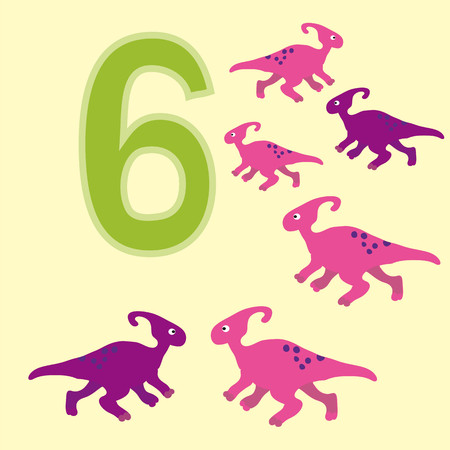 teaches: Poster for initial numeracy skills. Number six.Next to the number six dinosaurs.