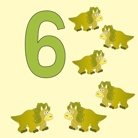 numeracy: Poster for initial numeracy skills. Number six.Next to the number six dinosaurs.