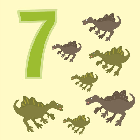 teaches: A poster for primary numeracy. Number seven. Next to the number seven dinosaurs. Illustration