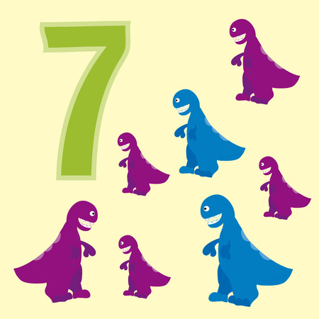 numeracy: A poster for primary numeracy. Number seven. Next to the number seven dinosaurs. Illustration