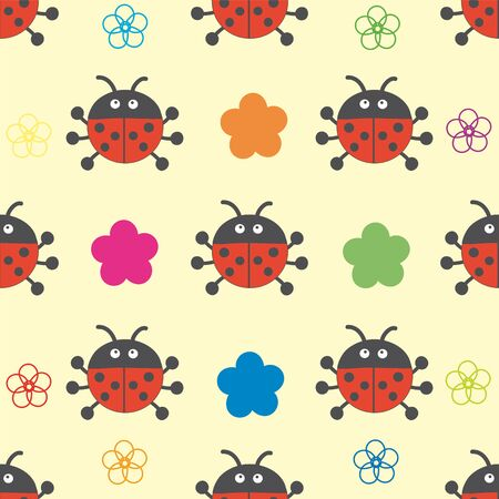 flew: Seamless pattern of ladybugs and flowers.
