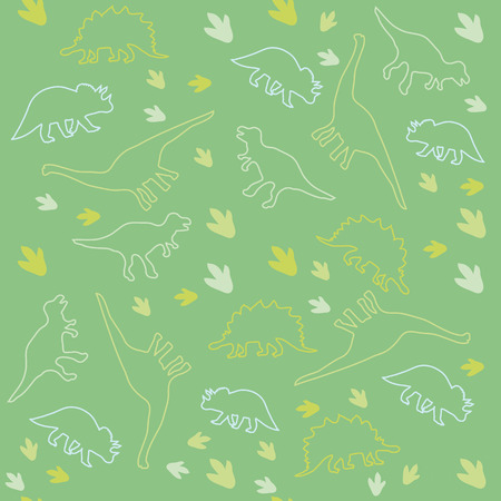 the animated film: Seamless ornamental background made of silhouettes of dinosaurs of different species and marks on a green background.