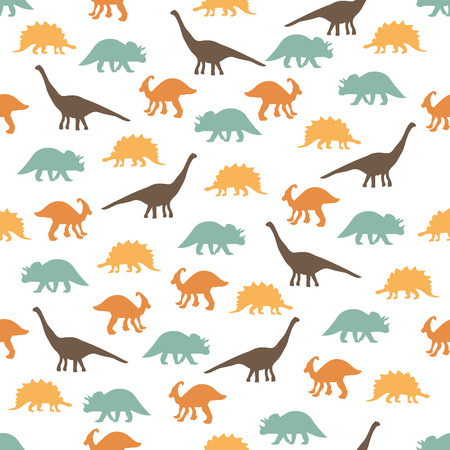 the animated film: Seamless ornament background made of silhouettes of dinosaurs of different species on a light background.