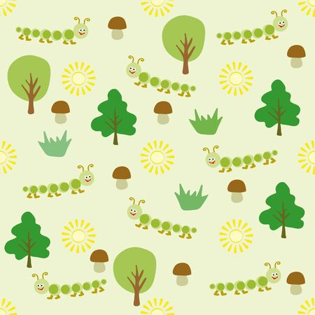 suns: Childrens pattern for the background composed of small cartoon centipedes, fungi , trees and suns.