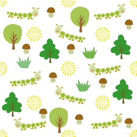 fungi: Childrens pattern for the background composed of small cartoon centipedes, fungi , trees and suns.