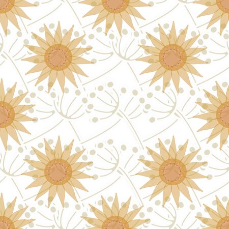 grass blades: Seamless ornament made in the romantic - natural style. Large flowers are on the background of interwoven blades of grass.
