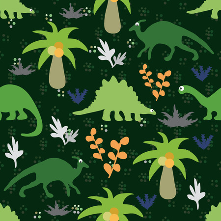 animated film: Vector illustration. Seamless ornament made of silhouettes of dinosaurs,trees and plants on a green background.