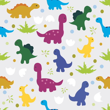 triassic: Vector illustration. Seamless pattern of silhouettes of dinosaurs,trees and egg shell on gray background. Illustration