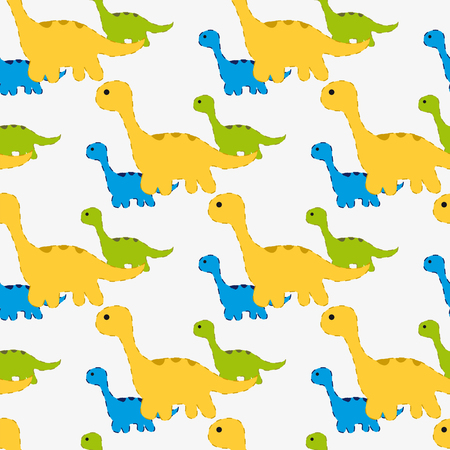 triassic: Vector illustration. Seamless pattern with silhouettes of dinosaurs. Near the large Brachiosaurus are several small dinosaurs. Illustration