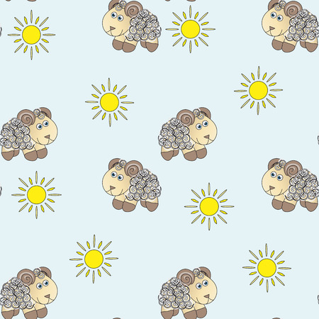 ease: Seamless baby pattern. made up of cute little lambs and ladybugs on a blue background.