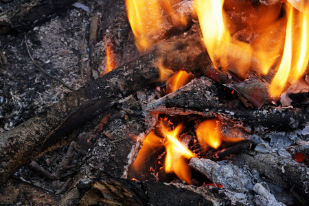 smut: Campfire closeup. The charred sticks and logs. Of them with flame and smoke. Stock Photo
