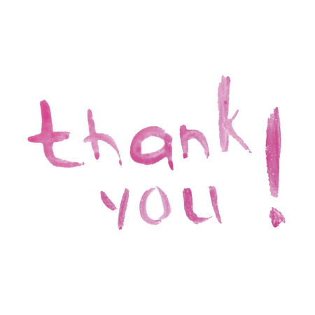 The phrase Thank you written on a white background. Pattern signs of gratitude. Illustration