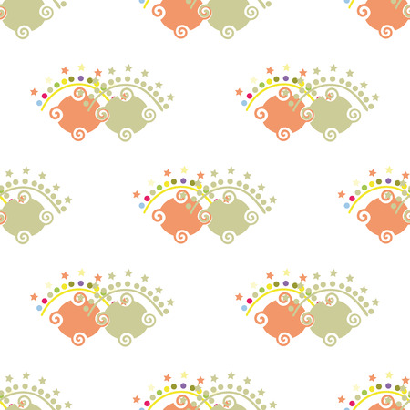summaries: Seamless ornament, composed of fancy a variety of repeating shapes.