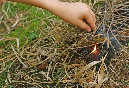 La main d'un homme qui est dans la forêt parmi les sèches, les feuilles flétries. Les gens ont allumé un feu dans la saison sèche. Banque d'images - 67035790