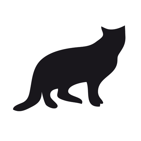 Black silhouette of a sitting cat on a white background.