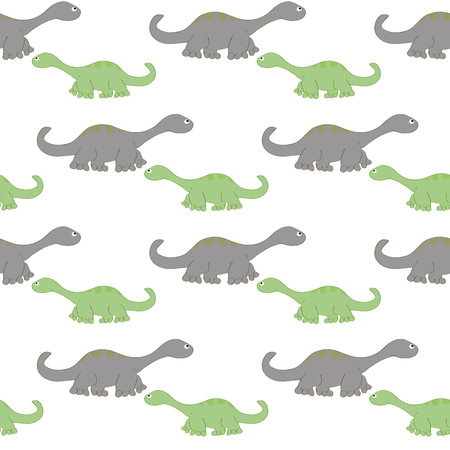 Seamless pattern composed of repetitive dinosaurs. Images of cute dinosaurs can be used for childrens background. Illustration