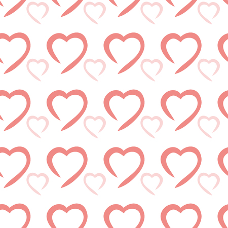 repeatability: Vector illustration. Seamless ornament consisting of many different hearts. Romantic design with Valentines day .