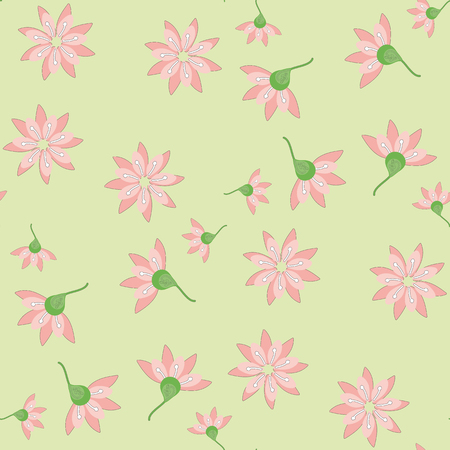 summaries: Pattern made of delicate pink flowers.